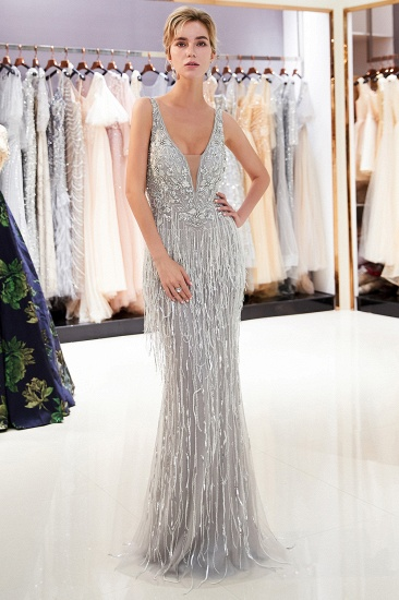BMbridal Sexy Deep V-Neck Mermaid Silver Prom Sleeveless Sleeveless Crystals Formal Dresses with Tassels_5