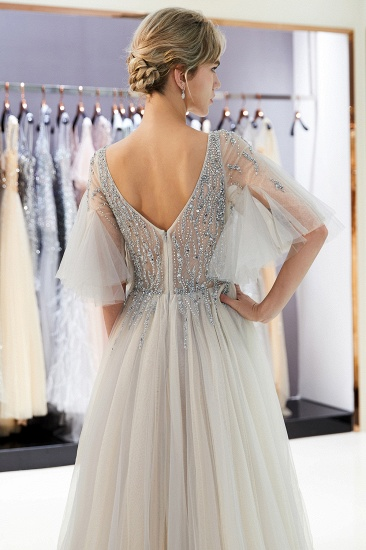 Chic V-neck Rhinestones Prom Dresses Tulle Evening Gowns with Short Sleeves Online_14