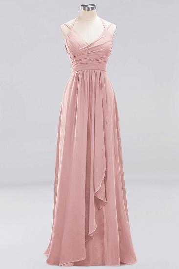 Affordable Chiffon Burgundy Bridesmaid Dress With Spaghetti Straps_6