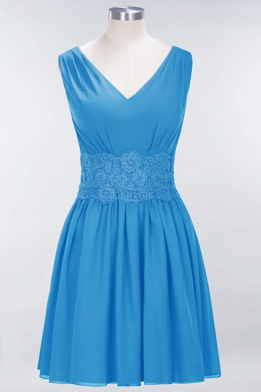Pretty V-Neck Short Sleeveless Lace Bridesmaid Dresses Online_25