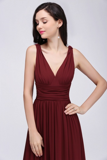 BMbridal Burgundy Long V-Neck Sleeveless Chiffon Bridesmaid Dress Online_6