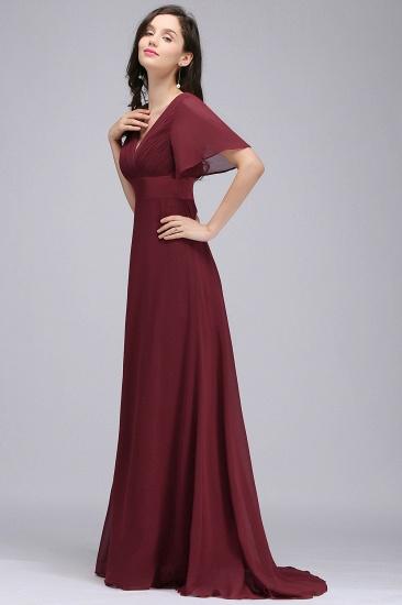 Affordable V-Neck Ruffle Long Burgundy Bridesmaid Dress With Short-Sleeves_5