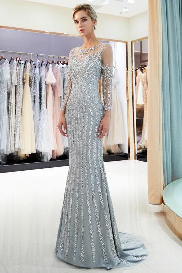 BMbridal Gorgeous Mermaid Jewel Long Prom Dresses Long Sleeves Evening Dresses with Rhinestones_2