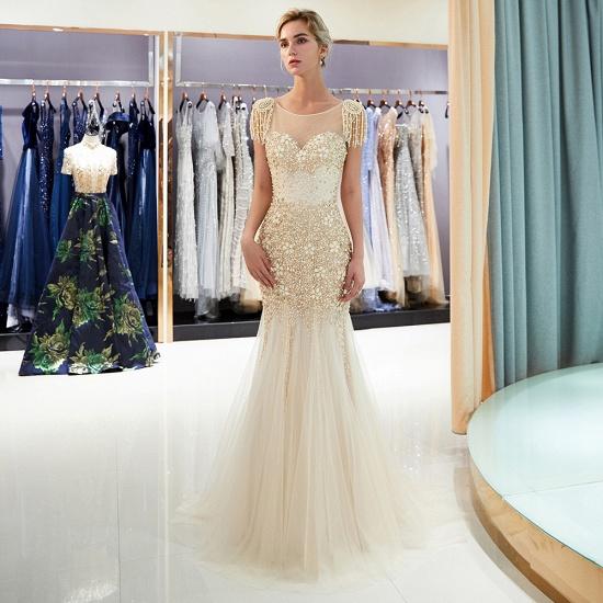 Elegant Mermaid Sleeveless Prom Dresses Flower Tulle Evening Dresses with Rhinestones_1