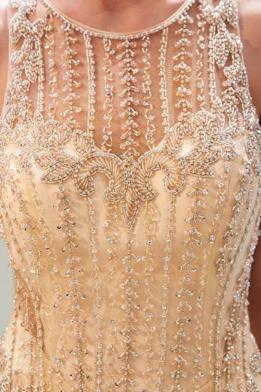 GOrgeous Jewel Gold Mermaid Prom Dresses Sleeveless Evening Dresses with Rhinestones_9