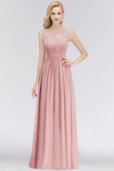 BMbridal Elegant Lace Scoop Bridesmaid Dress Dusty Rose Chiffon Sleeveless Wedding party Dress_2