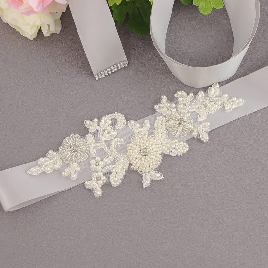 Beautiful Satin Flower Wedding Sash with Pearls_14