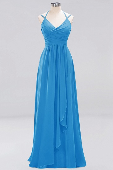Affordable Chiffon Burgundy Bridesmaid Dress With Spaghetti Straps_24