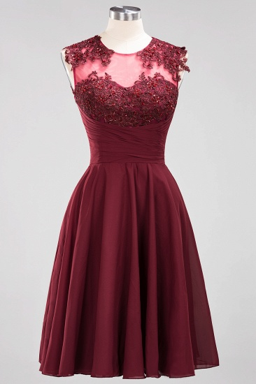 Cute Chiffon Round Neck Short Burgundy Bridesmaid Dresses with Appliques_53