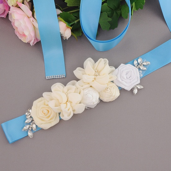 Fashion Chiffon Flowers Wedding Sash with Beadings_11