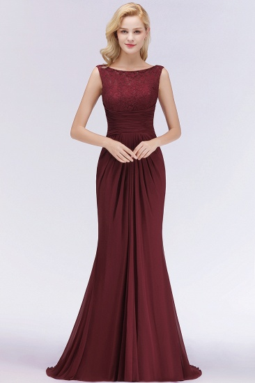 BMbridal Mermaid Scoop Sleeveless Lace Burgundy Bridesmaid Dresses with Pleats_2
