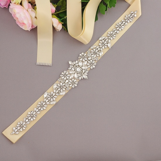 BMbridal Gorgeous Satin Beadings Wedding Sash_7