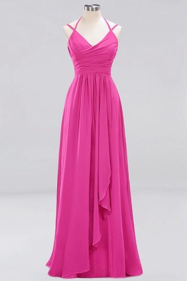 Affordable Chiffon Burgundy Bridesmaid Dress With Spaghetti Straps_9