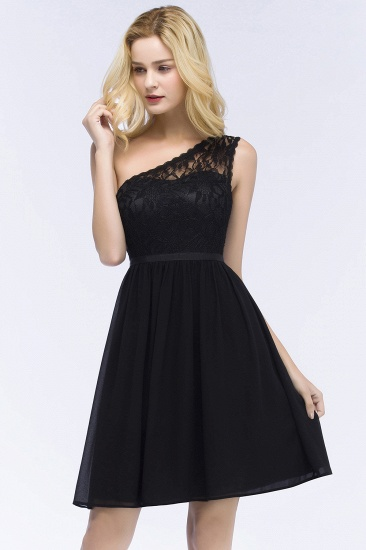 Lovely Lace Black One-shoulder Short Junior Bridesmaid Dresses Online_5