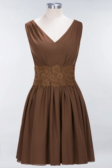 Pretty V-Neck Short Sleeveless Lace Bridesmaid Dresses Online_12