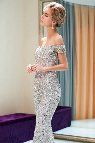 BMbridal Affrodable Mermaid Off-the-shoulder Prom Dresses Long Sequins Silver Evening Gowns Online_6