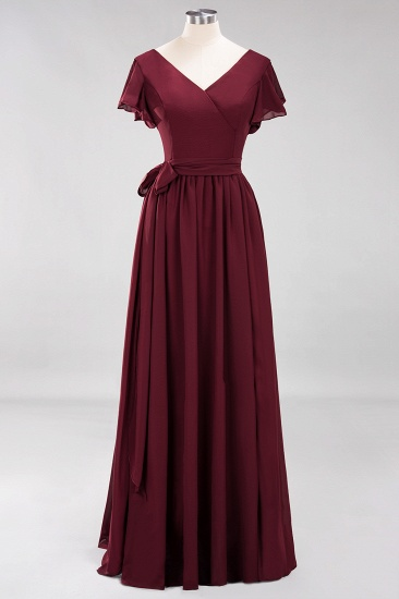Burgundy V-Neck Long Bridesmaid Dress With Short-Sleeves_58