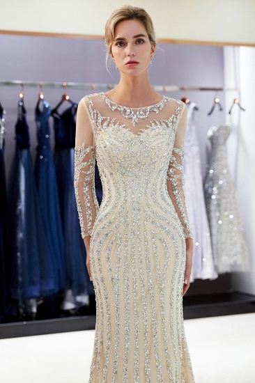 BMbridal Gorgeous Mermaid Jewel Long Prom Dresses Long Sleeves Evening Dresses with Rhinestones_13