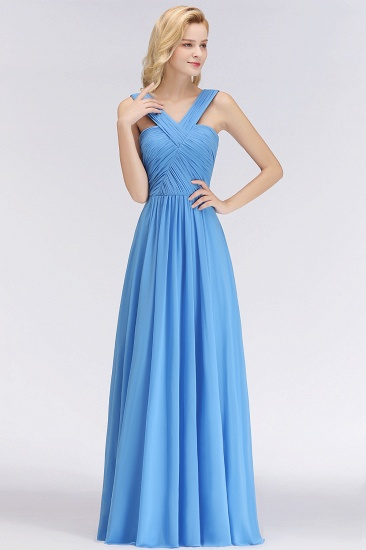 Chic Crisscross Ocean Blue Junior Bridesmaid Dresses Affordable Chiffon Ruffle Maid of Honor Dresses_4