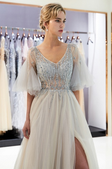 Chic V-neck Rhinestones Prom Dresses Tulle Evening Gowns with Short Sleeves Online_13