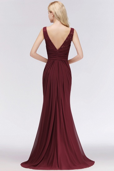BMbridal Mermaid Scoop Sleeveless Lace Burgundy Bridesmaid Dresses with Pleats_3