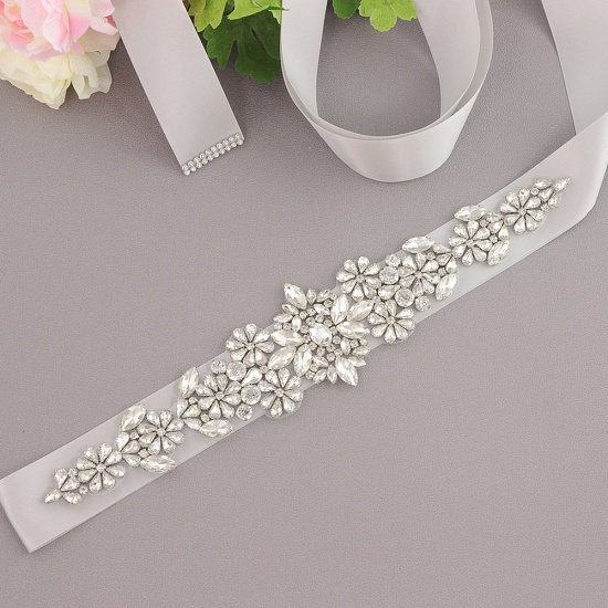 BMbridal Satin Flowers Pattern Wedding Sash with Pearls_14