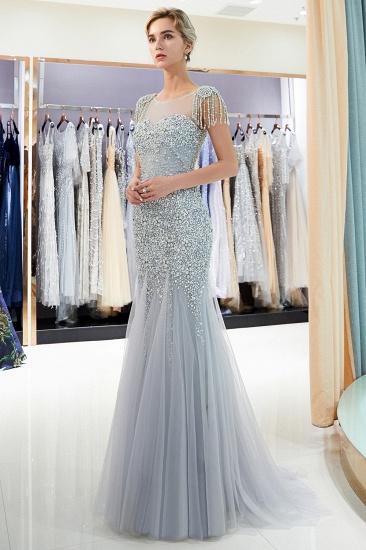 Elegant Mermaid Sleeveless Prom Dresses Flower Tulle Evening Dresses with Rhinestones_2