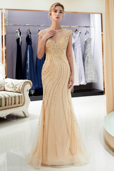 BMbridal Elegant Mermaid Jewel Long Gold Prom Dresses Sleeveless Evening Gowns with Rhinestones_1