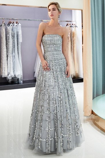 BMbridal Chic A-line Strapless Sequined Prom Dresses Chiffon Long Party Dresses On Sale_4