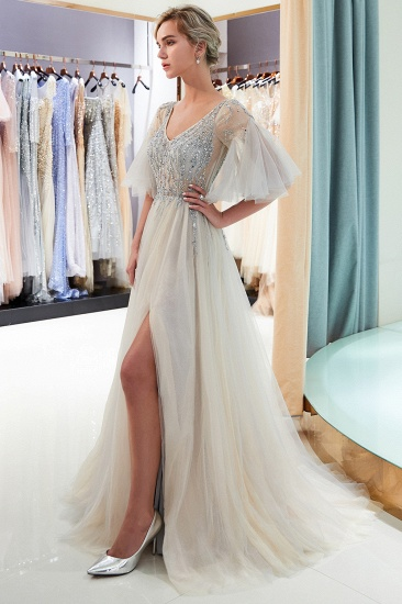 Chic V-neck Rhinestones Prom Dresses Tulle Evening Gowns with Short Sleeves Online_10
