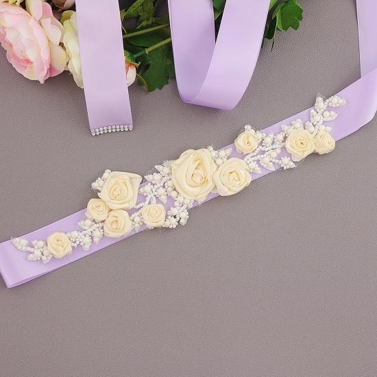 Elegant Satin Flowers Wedding Sash with Beadings_10