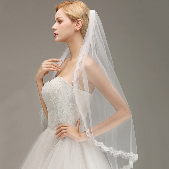 BMbridal Lace Edge One Layer Wedding Veil with Comb Soft Tulle Bridal Veil_5