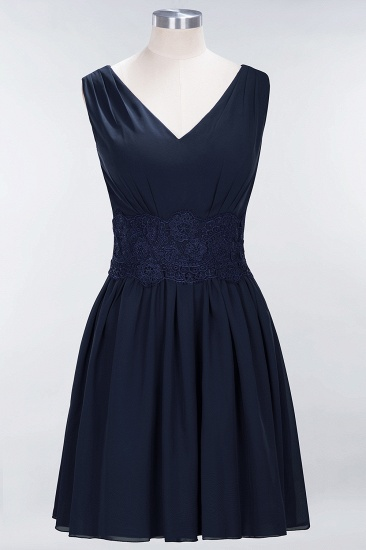 Pretty V-Neck Short Sleeveless Lace Bridesmaid Dresses Online_28