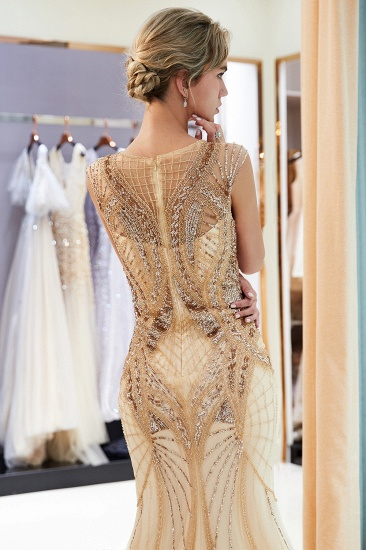 BMbridal Affordable Mermaid Sleeveless Golden Sequins Beading Formal Party Dresses_7