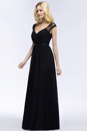 Elegant Lace Black V-Neck Sleeveless Bridesmaid Dress with Hollowout Back_6