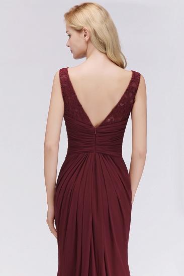 Mermaid Scoop Sleeveless Lace Burgundy Bridesmaid Dresses with Pleats_7