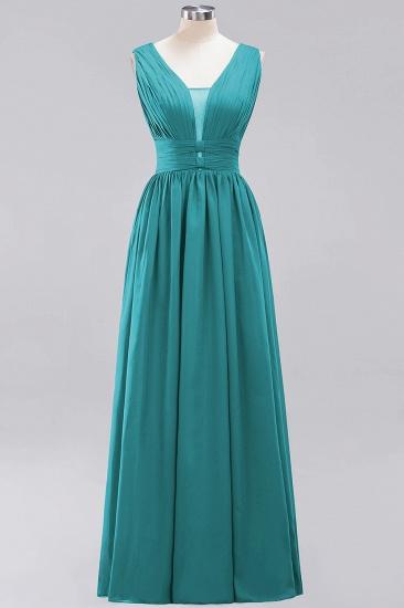 Modest Dark Green Long Bridesmaid Dress Deep V-Neck Chiffon Maid of Honor Dress_32