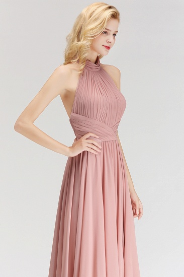 Gorgeous High-Neck Halter Backless Bridesmaid Dress Dusty Rose Chiffon Maid of Honor Dress_6