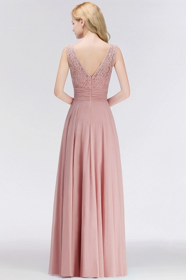BMbridal Elegant Lace Jewel Sleeveless Dusty Rose Bridesmaid Dress Online_3