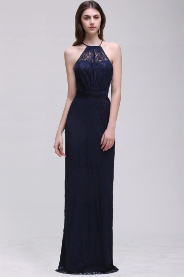 Vintage Halter Sleeveless Lace Navy Bridesmaid Dresses Affordable_1