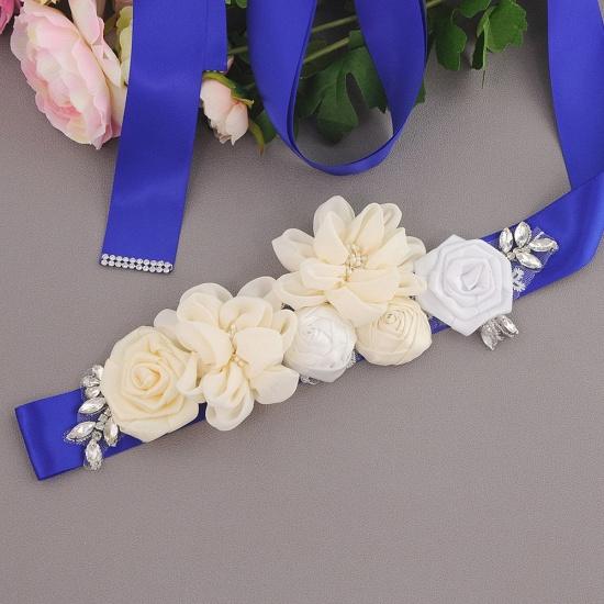 Fashion Chiffon Flowers Wedding Sash with Beadings_12