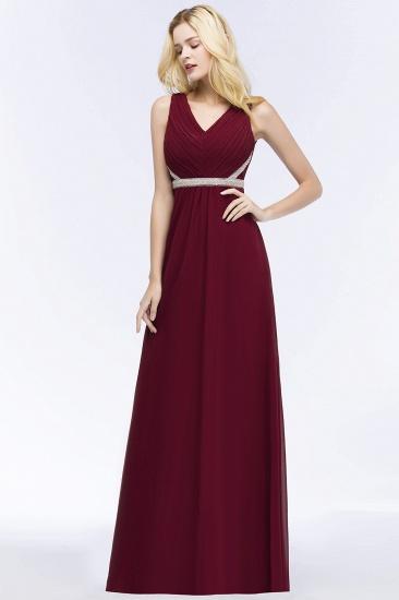 BMbridal Chiffon Burgundy Long Affordable Bridesmaid Dress With Beading Sash_4