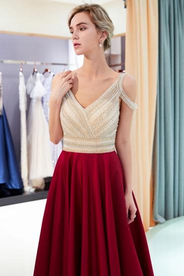 BMbridal Elegant V-neck Sleeveless Burgundy Prom Dresses A-line Crystal Beading Evening Dresses On Sale_6