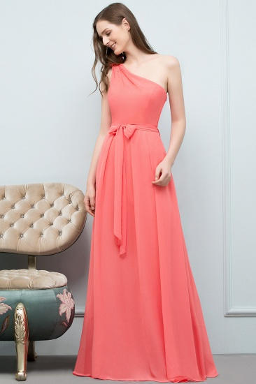 Chic One Shoulder Flower Long Bridesmaid Dresses with Bow Sash_5