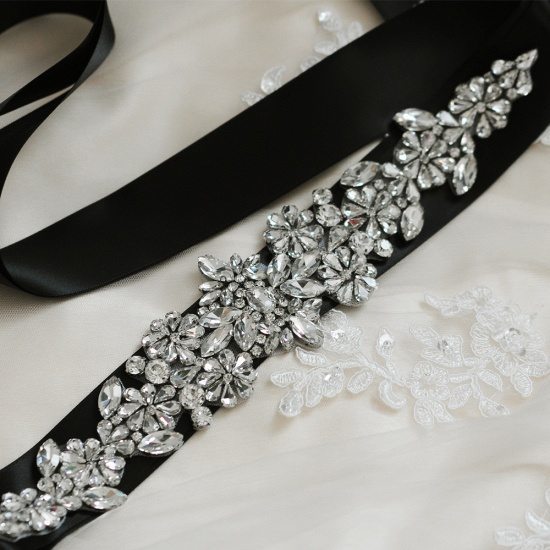 BMbridal Satin Flowers Pattern Wedding Sash with Pearls_13