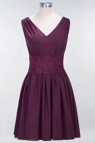 Pretty V-Neck Short Sleeveless Lace Bridesmaid Dresses Online_20