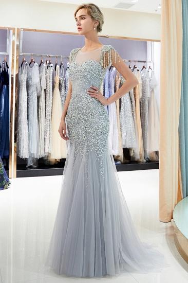 Elegant Mermaid Sleeveless Prom Dresses Flower Tulle Evening Dresses with Rhinestones_6