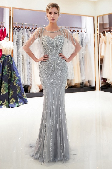 Affordable Mermaid Sweetheart Prom Dresses Illusion Neckline Sequins Beading Evening Dresses_7