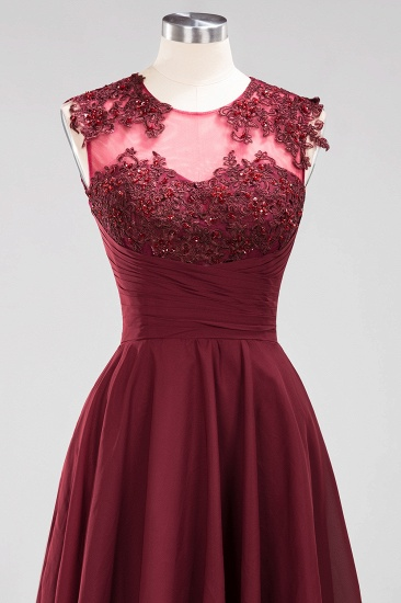 Cute Chiffon Round Neck Short Burgundy Bridesmaid Dresses with Appliques_56