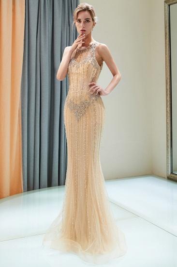 GOrgeous Jewel Gold Mermaid Prom Dresses Sleeveless Evening Dresses with Rhinestones_7